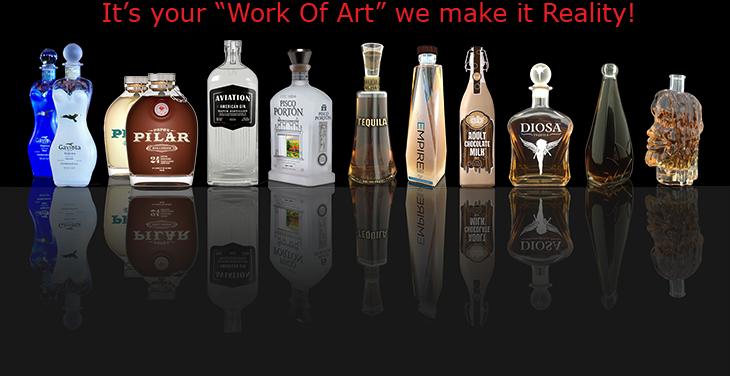 Unique Custom Designed glass bottles